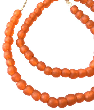 8mm Handmade Pumpkin Orange Krobo recycled Glass African trade Beads-Ghana