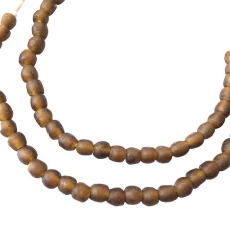8mm Handmade Cocoa Amber Krobo recycled Glass African trade Beads-Ghana