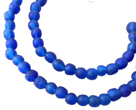 8mm Handmade Azure Blue Krobo recycled Glass African trade Beads-Ghana