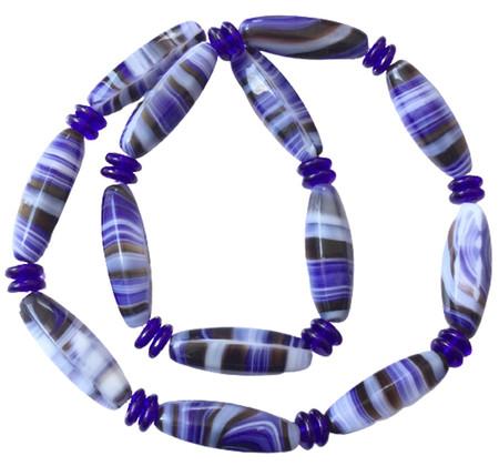 Vintage Oval blue multi Glass Czech Beads