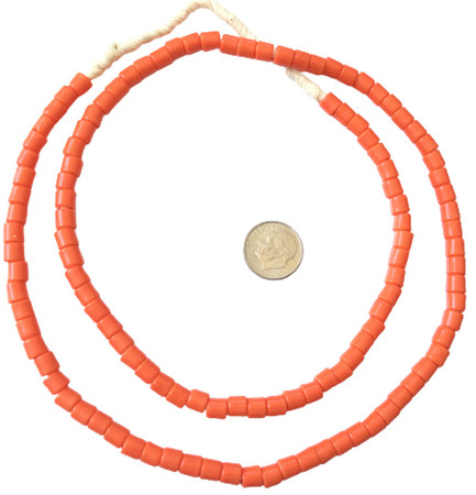 Fine Vintage Czech Bohemian Glass Orange African Trade beads [05472]