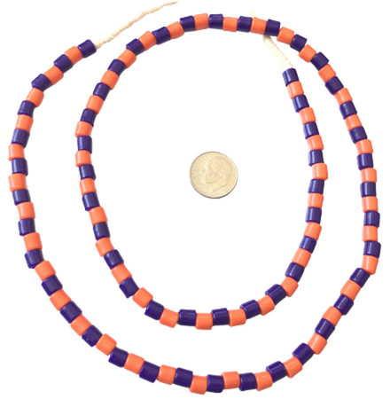 Fine Vintage Czech Bohemian Glass Orange and dark blue African Trade beads