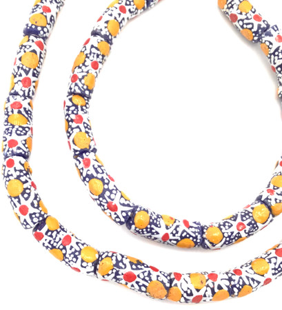 Ghana African Matched Floral multi Recycled glass trade beads