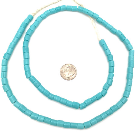 Fine Vintage Czech Bohemian Glass Turquoise Blue African Trade beads [05472]
