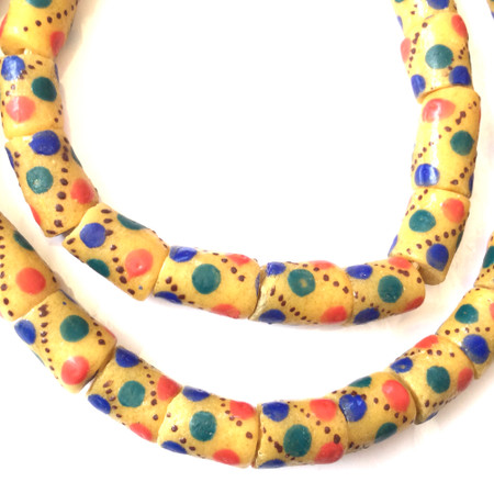 Mustard Yellow with multi color polka dot Handmade Krobo Recycled Glass African Trade Beads-Ghana