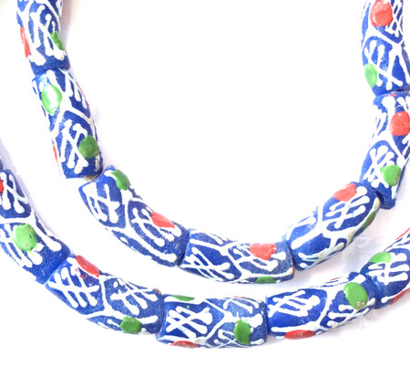 Made in Ghana Handmade Dk Blue white colors Recycled glass African trade beads