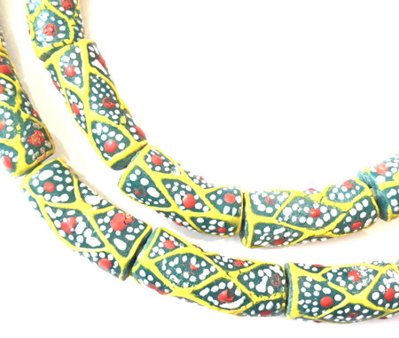 Made in Ghana Handmade Green multi Recycled glass African trade beads