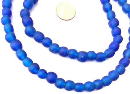 8mm Handmade Blue Krobo recycled Glass African trade Beads-Ghana [06258]