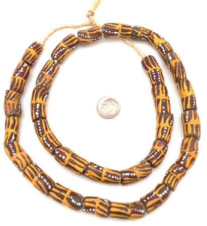Made in Ghana Handmade brown multi Recycled glass African trade beads