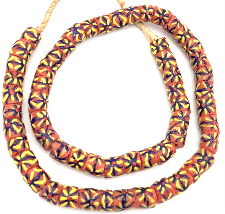Made in Ghana Handmade Coral multi Recycled glass African trade beads