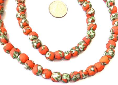 8mm Handmade orange multi Krobo recycled Glass African trade Beads-Ghana