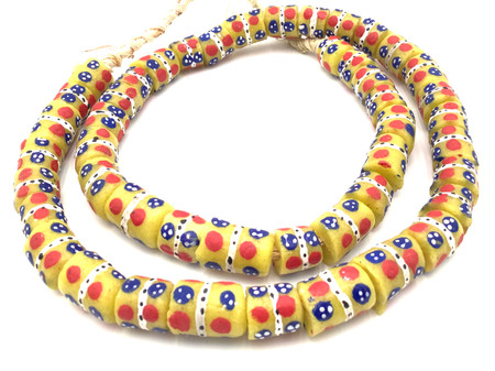 Made in Ghana Handmade yellow multi Recycled glass African trade beads