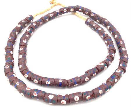 Made in Ghana Handmade dark brown Recycled glass African trade beads