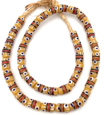 Made in Ghana Handmade mustard yellow multi Recycled glass African trade beads