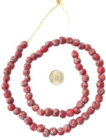 8mm Handmade red multi Krobo recycled Glass African trade Beads-Ghana