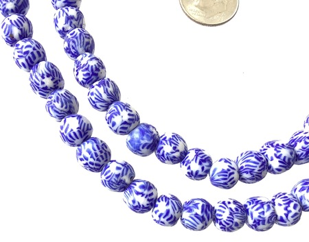 8mm Handmade white and blue multi Krobo recycled Glass African trade Beads-Ghana [07301]