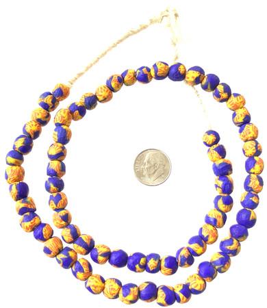 8mm Handmade blue multi Krobo recycled Glass African trade Beads-Ghana