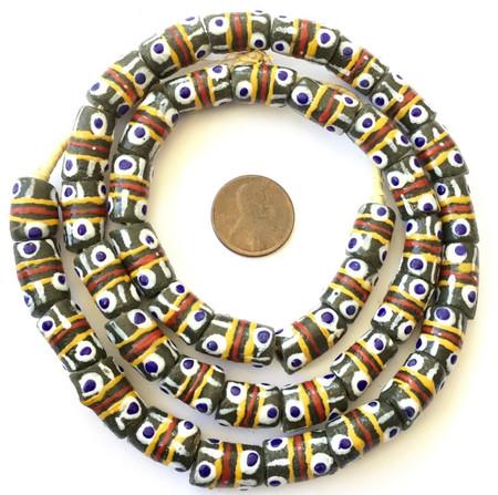 Ghana Army Green Banded Krobo recycled Glass African trade Beads-Ghana