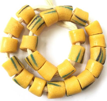 Mustard yellow mix Ghana Handmade recycled Glass African Trade beads-Ghana
