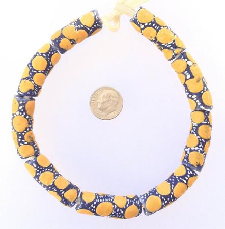 Ghana Handmade recycled Glass Yellow polka Dot African Trade beads-Ghana  [09801]