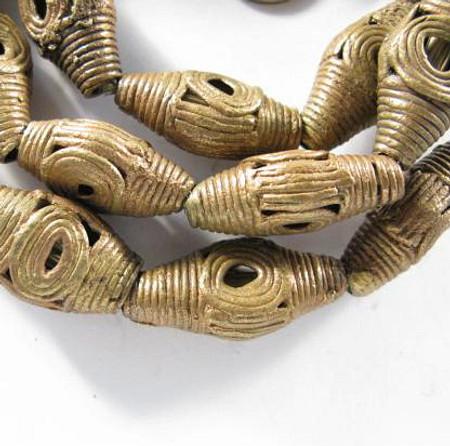 African authentic handmade Ghana brass trade beads