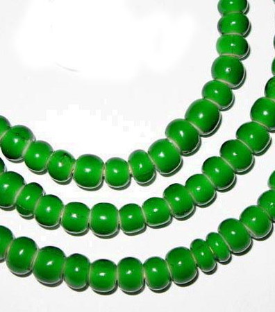 nice green African white heart glass trade beads