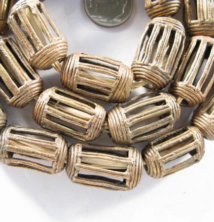 African handmade Ghana brass trade beads