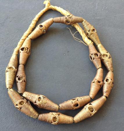 African handmade bicone shaped Ghana brass trade beads