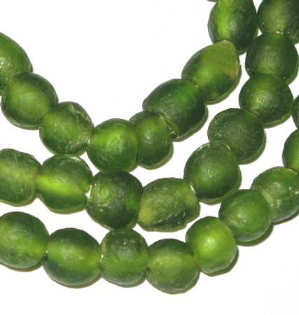 African translucent Kelly Green Krobo handmade Ghana glass beads
