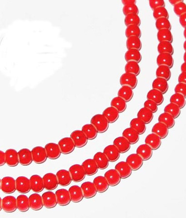 African red white heart glass trade beads