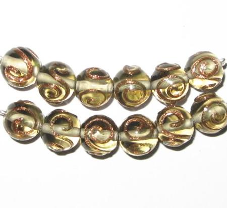 vintage art lampwork light gold aventurine Czech glass beads