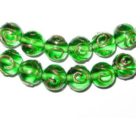 vintage art lampwork green aventurine Czech glass beads