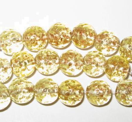 vintage art lampwork  yellow aventurine Czech glass beads