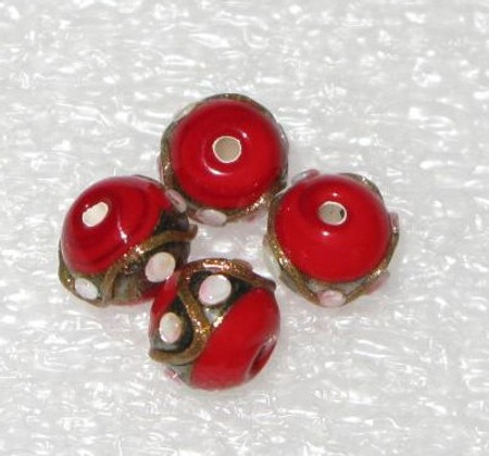 4 nice vintage art Czech wedding cake glass trade beads