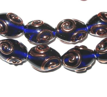 fine Czech handmade blue/gold glass lamp bead