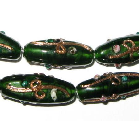 Fine Czech Handmade Green/Brown Glass Lamp beads