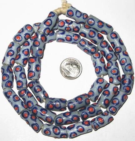 African Ghana handmade Krobo green/red eye powderglass beads