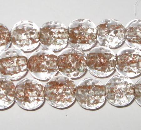 vintage art lampwork white/brown aventurine Czech glass beads