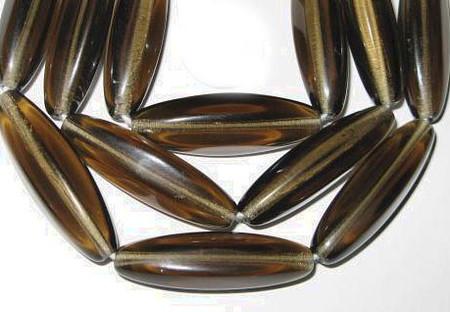 fine Czech Bohemian brown translucent glass beads