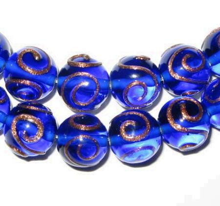 vintage art lampwork blue aventurine Czech glass beads