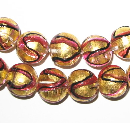 vintage Czech lampwork round foil bohemian glass beads