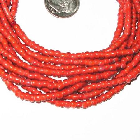 3 Strands red Venetian White Heart glass trade beads