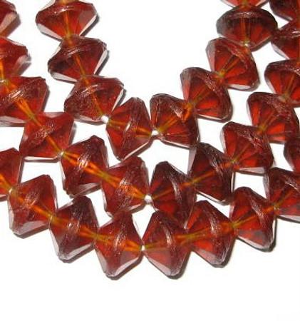 amber vaseline Czech Bohemian glass trade beads
