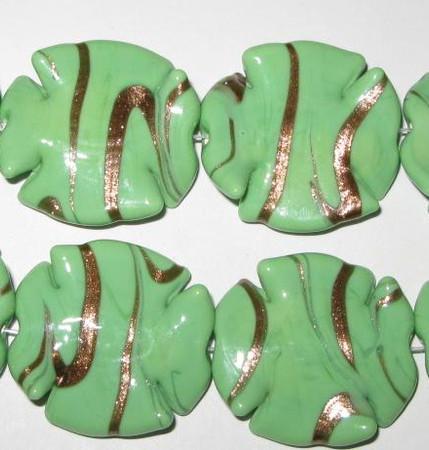 fine handmade Czech lamp Bohemian green aventurine glass bead