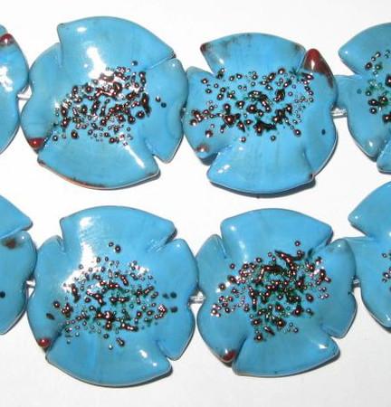 fine handmade Czech lamp Bohemian Light Blue Florentine glass bead