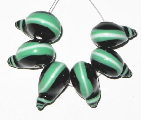 fine European green/black lampwork Bohemian glass beads