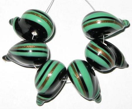 fine European dark green/gold/black lampwork Bohemian glass beads