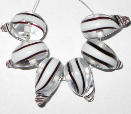 fine European brown clear white lampwork Bohemian glass beads