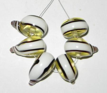 fine European yellow and white lampwork Bohemian glass beads