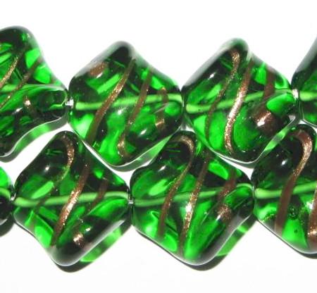 art Czech vintage twist lamp aventurine Bohemian glass bead